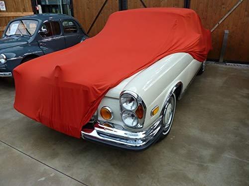 AMS Vollgarage Mikrokontur® Rot für Mercedes W111 Coupe & Cabrio, schützende Autoabdeckung mit Perfekter Passform, hochwertige Abdeckplane als praktische Auto-Vollgarage