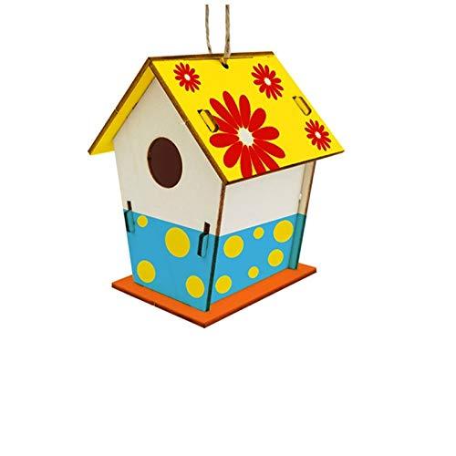 Moent Decoración de madera para el hogar DIY Pintado a mano Artesanías Graffiti Casa de pájaros Set 30ML Suministros para mascotas (B)