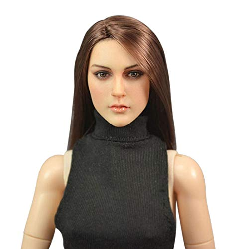 Batop Weibliche Kopf Sculpt mit Lange braune Haare für 1/6 Action Figuren Weiblich