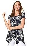 Roman Originals - Camiseta con estampado floral con Hanky Hem – Camiseta de manga corta para mujer, cuello redondo, dobladillo asimétrico casual Daywear azul marino 44