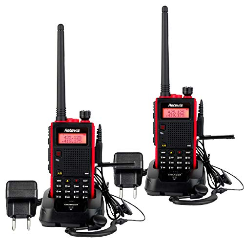 Retevis RT5 Walkie Talkie Professionali Doppia Banda 128 Canali Allarme VOX DTMF FM Radio 1750Hz Walkie Talkie Ricaricabili 1400mAh Ricetrasmettitore con Auricolare (Rosso, 2 Pezzi)