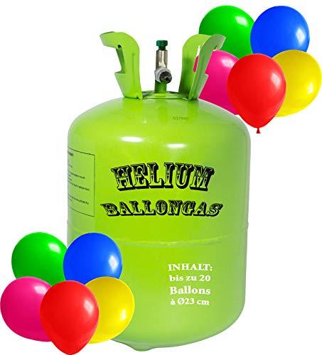 Premium Helium Ballongas Tank L - 1x Heliumflasche für 20 Balloons à 23cm Helium Luftballon Gas (20 Ballons à 23cm)