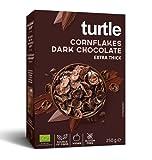 Copos de maíz orgánicos sin gluten de Turtle Cereales cubiertos con chocolate amargo - 1 x 250 gramos