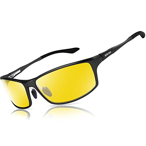 Bircen Night Vision Glasses for Driving, HD Anti Glare Al-Mg Frame Night Driving Glasses for Men and Women