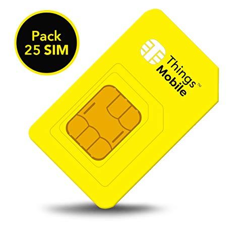 Packung 25 SIM-Karten für IOT und M2M - Things Mobile - mit weltweiter Netzabdeckung und Mehrfachanbieternetz. Ideal für GPS TRACKER, TELEMETRIE, ALARM, SMARTWATCH, etc. Guthaben nicht inbegriffen