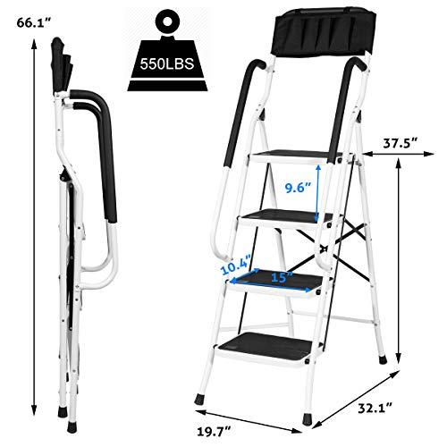 4 Steps Ladder Folding Step Stool Ladder Tool Ladder with Steel with Wide Pedal and Handgrip Non-Slip Sturdy for Household and Office Stepladder with Attachable ToolBag ( MAX 500lbs)
