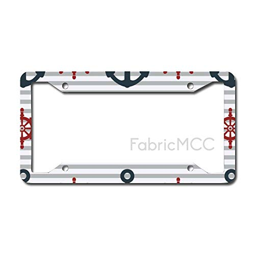 Dom576son License Plate Frame Anchors Ink Fabric Metal Tag Border US Size 12×6 Inches Auto License Plate Holder