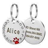 Collar de identificación de mascotas Etiqueta de identificación personalizada Accesorio de acero inoxidable para perros y gatos Gatos Rosa-Rojo-Tamaño libre