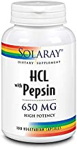 Solaray High Potency Betaine HCL with Pepsin 650 mg   Hydrochloric Acid Formula for Healthy Digestion Support   Lab Verified (100 CT)