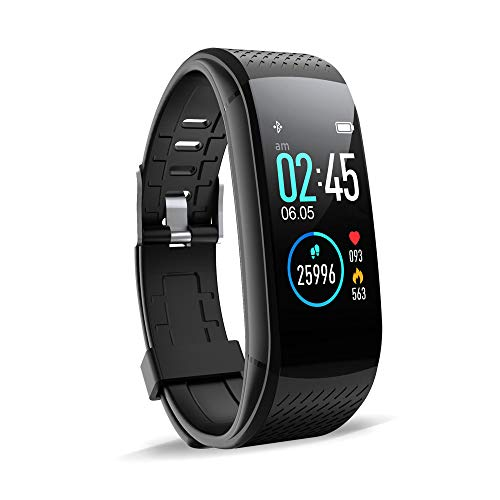 WalkerFit Fitness Tracker, Activity Tracker with Heart Rate Monitor, Waterproof Standard Smart Watch with Pedometer, Black