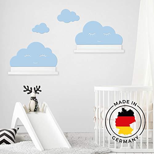 Wandtattoo Wolken in blau mit Augen für IKEA Regalbrett Ribba/Mosslanda 55 cm Bilderleiste für Babyzimmer Kinderzimmer – Aufkleber für Wand Tapete