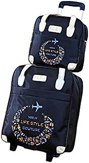 [大未来] 2点セット 旅行カバン キャリーバッグ ショルダーバッグ 折りたたみ 機内持ち込み スーツケース BH0816-AL28BIU [並行輸入品]