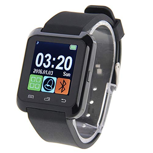 LVDHFUIASDFEFEE Smart Wear U80 Bluetooth Health Smart Watch 1.5 inch LCD Screen for Android Mobile Phone, Support Phone Call/Music/Pedometer/Sleep Monitor/Anti-lost(Black) (Color : Black)