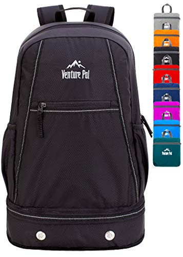 Venture Pal 35L Large Lightweight Packable Hiking Backpack with Wet Pocket & Shoes Compartment Travel Backpack & Day Backpack for Women Mens(Black)