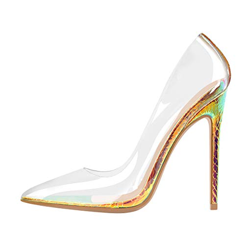 MissHeel Clear Pointed Toe Heels for Women See Through Shoes High Heels Stiletto Pumps Sexy Hologram Size 6.5