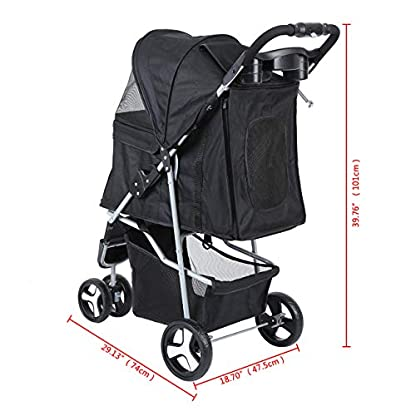 Yonntech Pet Travel Stroller Foldable Cat Dog Pushchair Trolley Puppy Jogger Buggy Dog Carrier Maximum Weight 15Kg with Cup Holders Storage Basket Three Wheels (Black) 4