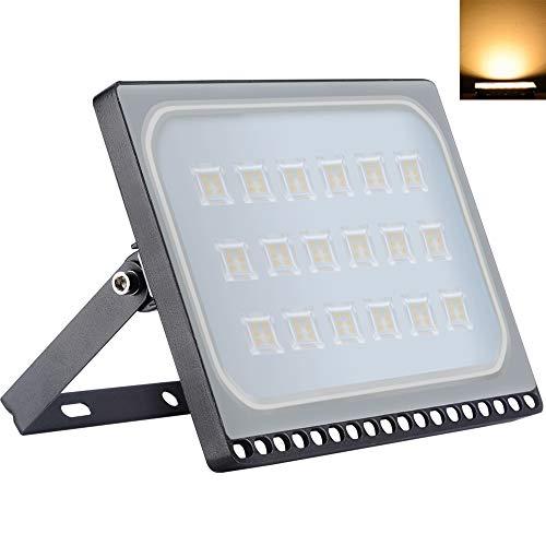 Proyectores LED de 100W 8000LM Superbrillante 3000K Blancos Cálidos IP65 Impermeable Lámpara de Inundación Ultra Delgada al Aire Libre para Jardín Paisaje Estacionamiento Hotel