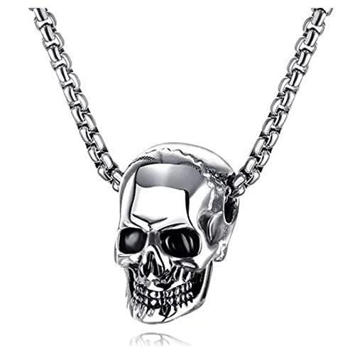 Moda Collar Joyas Gargantilla Collar Punk Rock para hombre, cadena con dijes, acero inoxidable, motocicleta, estilo motociclista, esqueleto negro, calavera, aleación, colgantes, collares, joyería