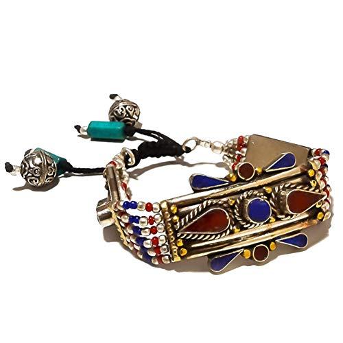 Nepali Work! Blue Lapis Lazuli and Red Coral! Tibetian Bracelet 7-9' Long, TIBETIAN Silver Plated, Handmade Art Jewelry! Multi-Stone Jewelry for Woman Bracelet Buddhist Tribal Wedding