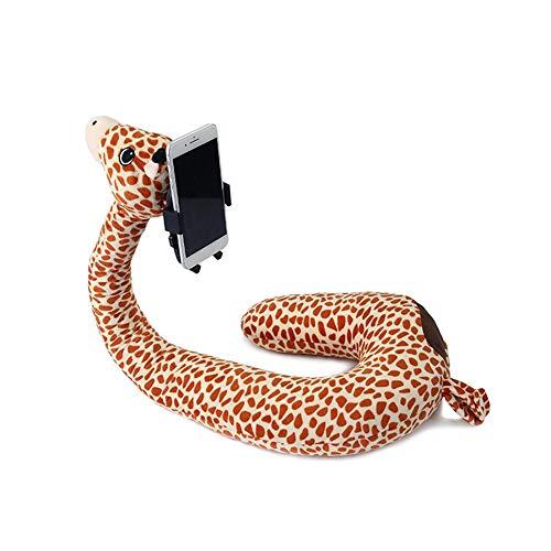Pigro mobielhouder, 2-in-1 in U-vorm, kussen voor telefoon, flexibele standaard voor de hals van het dier, steunkussen voor thuis en op reis