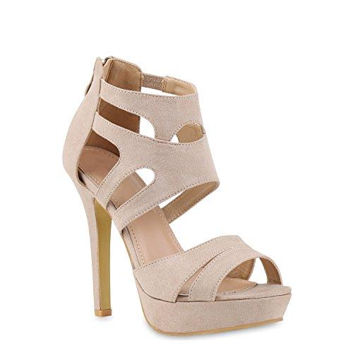 stiefelparadies Damen Pumps Plateausandaletten Stilettos Cut-Outs Schuhe Sandaletten 121438 Creme 35 Flandell