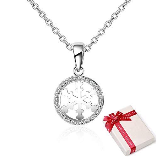 Dames halsketting sneeuwvlok halsketting sneeuwvlok ketting hanger zilver 925 sneeuwvlok hanger 925 sterling zilver zirkonia