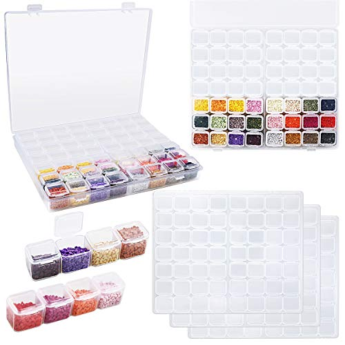 BILLIOTEAM 3 Pack 56 Grids Diamond Painting Organizer Boxes,Clear Plastic 5D Diamond Embroidery Storage Container with 720 PCS Label Stickers for Sewing,Nail Art,Diamond Painting Accessories