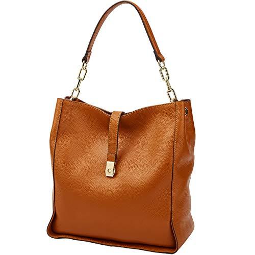 Damen-Handtasche, echtes Leder, weiche Schultertasche, Hobo-Tasche, Beutel, Abendtasche Gr. Large, 8888Brown
