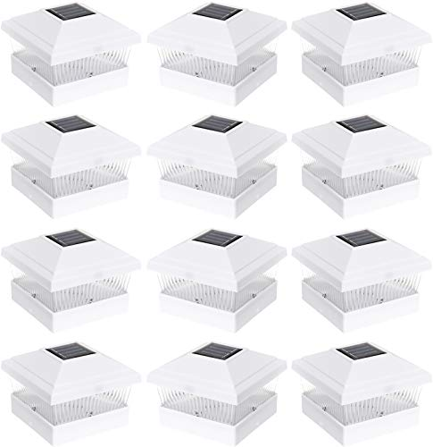 GreenLighting 12 Pack Classic #1 Solar Power Outdoor Garden Pathway Deck Dock Patio Fence Post Light for 5x5 PVC Posts (White)