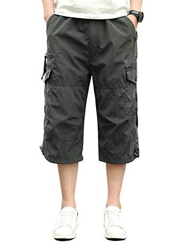 Pinkpum Cargo Shorts Hombres Pantalones Cortos de Algodón Leisure Casual Gris 01 M