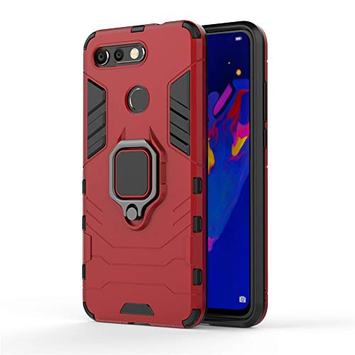 Huawei Honor View 20/V20 Hülle, CHcase Hybrid 2in1 TPU+PC Schutzhülle Rugged Armor with Magnetic Car Mount Hülle Cover Dual Layer Bumper Backcover mit Ständer für Huawei Honor View 20/V20 -Red