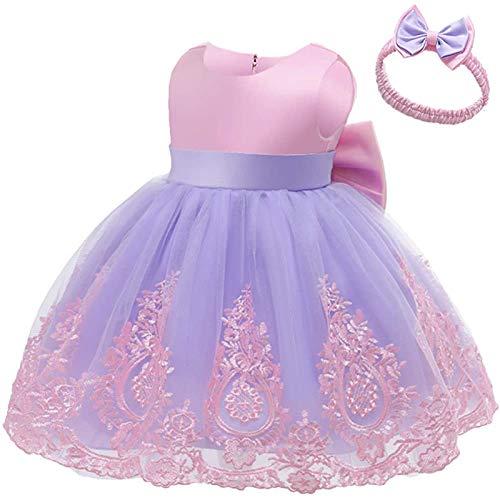 Kobay Mädchen Sommer Süßes Muster Baby Girl Pageant Spitzenkleid Kleinkind Party Bowknot Tutu Kleid Kleid mit Kopfbedeckung