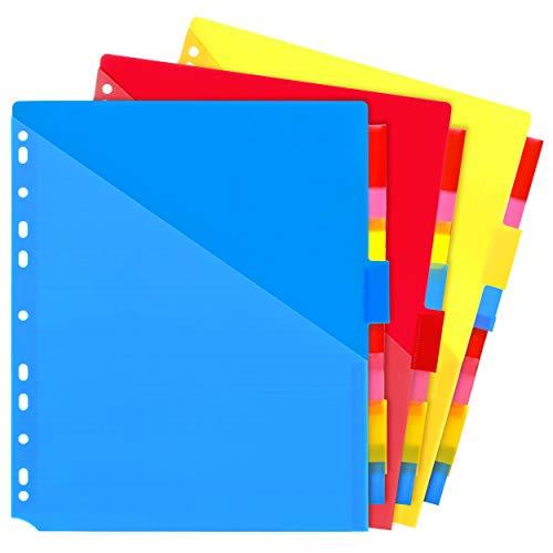 Binder Dividers w/Two Pocket Binder Index Dividers 8-Tab Set Pack of 3 Sets, Multicolor Plastic Dviders with Pockets for Binders, 24PCS Tab Dviders Assorted Colors