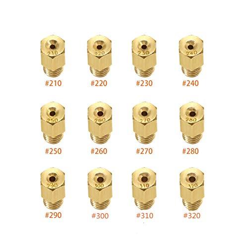 Kit de chorro Carburador Mikuni Accesorios for el caso de VM TM carburador principal de medición principal agujero Jet boquilla de 12 piezas Set Chorro principal para carburador ( Size : #210-320 )