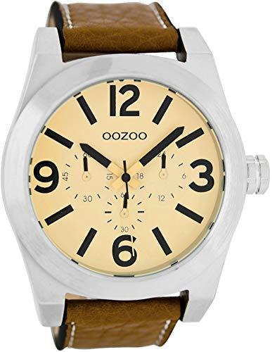 Oozoo Herrenuhr mit Lederband 48 MM Creme/Cognac C6731