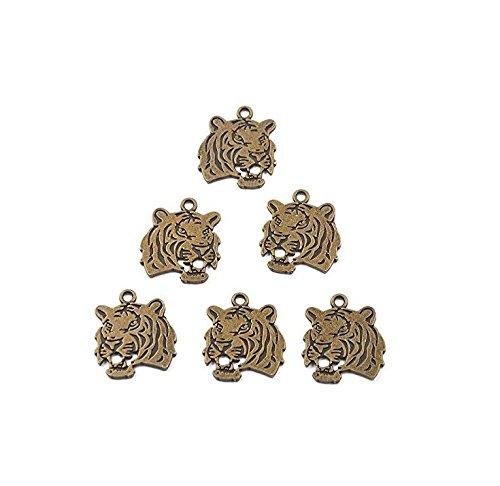 Aiweasi Alloy animal tiger head jewelry jewelry_6pcs (bronze)