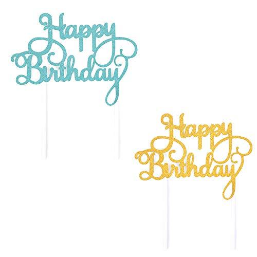 Compleanno Torta Topper,Glitter Happy Birthday Cake Topper,Decorazione Della Torta, Per Ragazza Feste Di Compleanno(5 blu+5 oro)