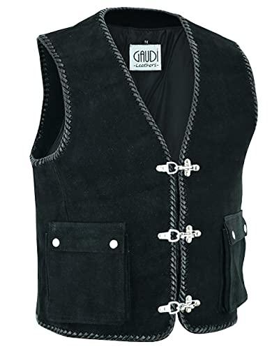 Gaudi-Leathers Lederkutte Veloursleder aufges. Taschen in Größe 4XL