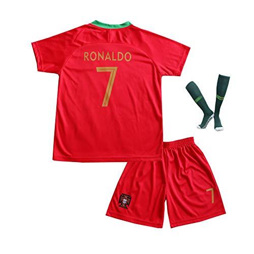 BTA APPAREL 2018/2019 Portugal #7 Cristiano Ronaldo Heim Kinder Fußball Trikot Hose und Socken Kindergrößen (6-8 Jahre)