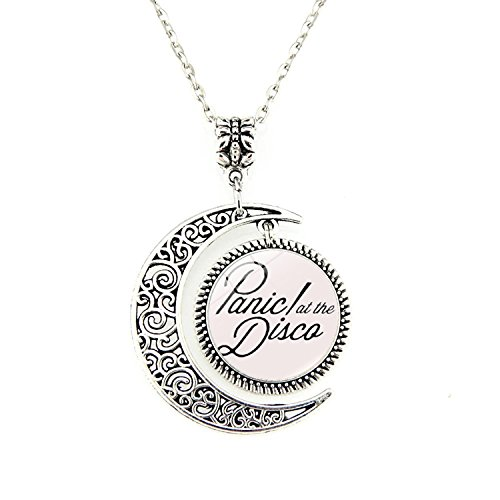 Panic! at The Disco Band Logo Charm Crescent Moon Pendant Necklace