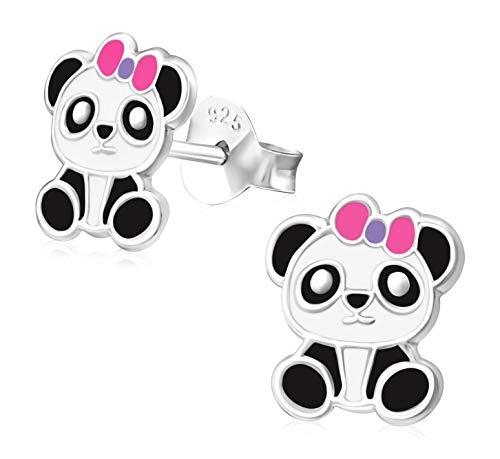 Laimons Mädchen Kids Kinder-Ohrstecker Ohrringe Kinderschmuck Pandabär Bär mit Schleife süß schwarz weiß pink aus Sterling Silber 925