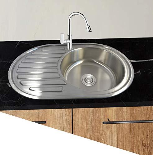 1 x évier en acier inoxydable 304 à encastrer 1 bac ovale Évier de cuisine encastrable avec étagère et bonde 76,5 x50