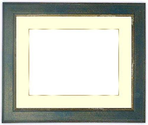 写真用額縁 9650/ブルー キャビネ(180×130mm) ガラス マット付(金色細縁付き) マット色:黒