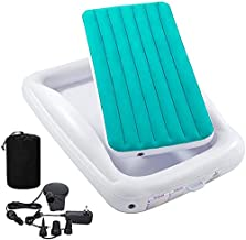 Inflatable Kids Travel BedToddlerAir Mattress Set - Portable Blow Up Mattress Sleeping Bed Cot with Security Bed Rails and Electric PumpIdeal for Road Trip Camping Sleepovers etc. (Upgraded)