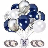 SunAurora Globo de Plata Azul Blanco, 50 PCS 12 Inch Globo Azul Marino, Globo de Confeti Plateado,Globo de Plata Blanco para la Decoración de la Boda Niño Nacimiento Bautismo Comunión (Plata)