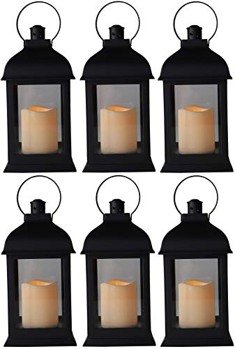 10' Vintage Rustic Decorative Electric Candle Lantern Lamp with LED Candle Light for Indoor and Outdoor Decor, Battery Powered Candles Great for Wedding Centerpieces, Garden and Home (6, Style 4)