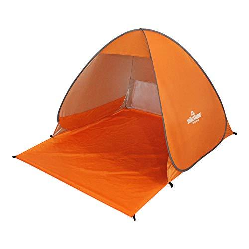 Milestone Camping 18889 - Refugio desplegable para Playa y Pesca (Incluye piquetas, 110 x 150 x 115 x 165 cm), Color Naranja
