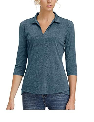 MOHEEN Women's Moisture Wicking Golf Polo Shirt 3/4 Sleeve Dry Fit(Navy Blue,XL)