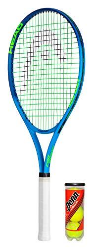 HEAD Ti.Conquest - Raqueta de tenis de titanio con cubierta protectora y 3 pelotas de tenis (disponible en tamaño de agarre 1 – 4) (L2 (4 1/4 pulgadas)