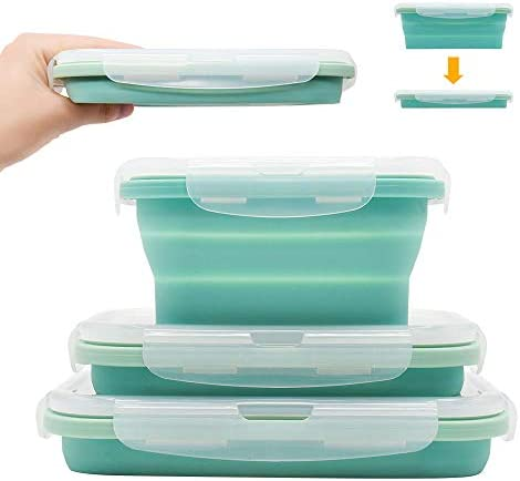 CYX Folding Silicone Lunch Box Set of 3 Collapsible Food Storage Container BPA Free With Cover product image